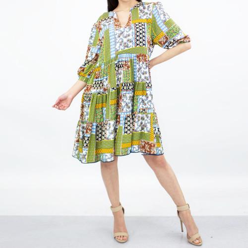 Flare Bottom 3/4 Sleeve Dress - Green