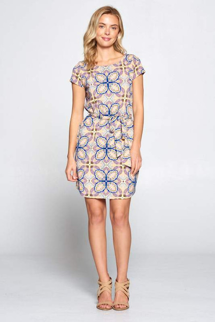 Short Sleeve Print Jersey Dress w/Waist Tie