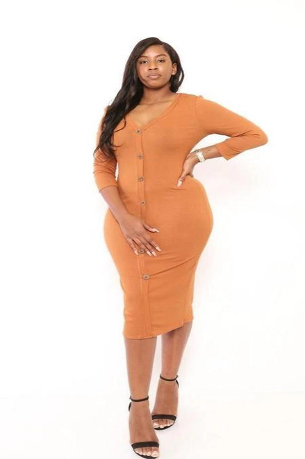 Button Down Maxi Dress - Off Orange