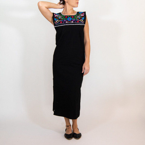 Maxi Isidra Black Dress Hand embroidered w/Flowers