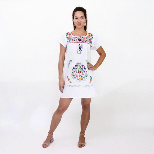 White Mexican Dress w/Multicolored Flowers