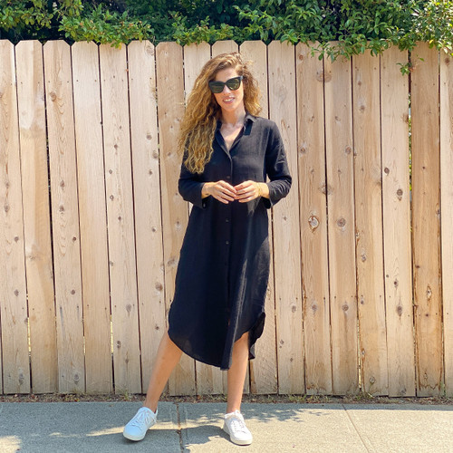 Della Shirt Dress - Black