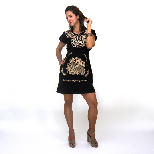 Ethnic Folk Golden Embroidered Mexican Dress