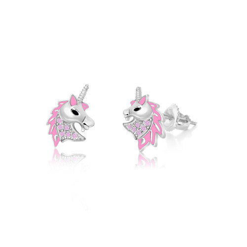 Crystal Pink Unicorn Head Screw-back Earrings