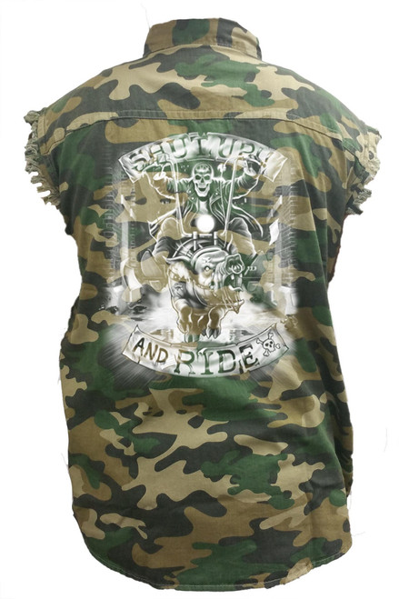Men's Camo Sleeveless Denim Shirt Shut Up & Drive Hog Bike Denim