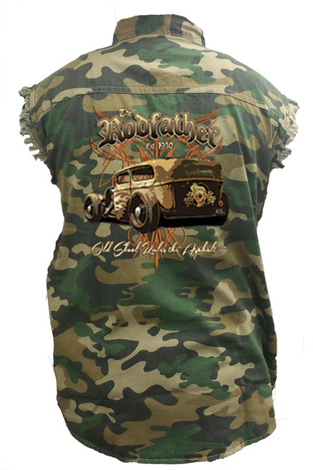 Men's Camo Sleeveless Denim Shirt The RodFather - Classic Car Denim