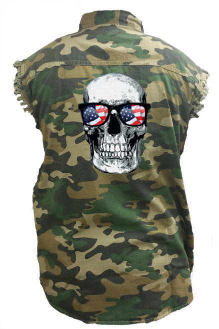 Men's Camo Sleeveless Denim Shirt Skull w/American Sunglasses Denim