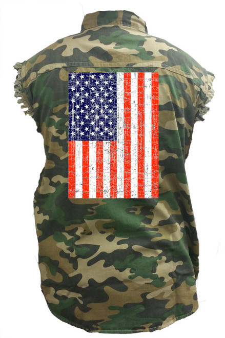 Men's Camo Sleeveless Denim Shirt Distressed USA Flag Denim Vest