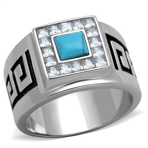 Men's Stainless Steel Synthetic Turquoise Rings Design W
