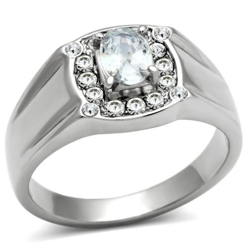 Men's Stainless Steel Cubic Zirconia Rings Design X