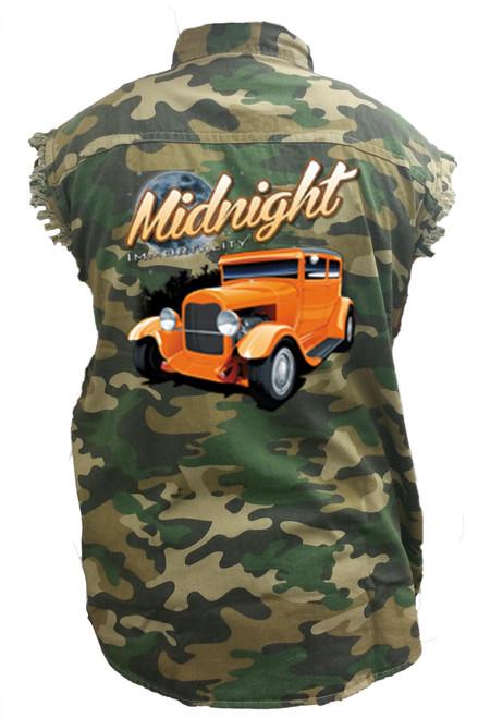 Men's Camo Sleeveless Denim Shirt Midnight Immortality Hot Rod Denim