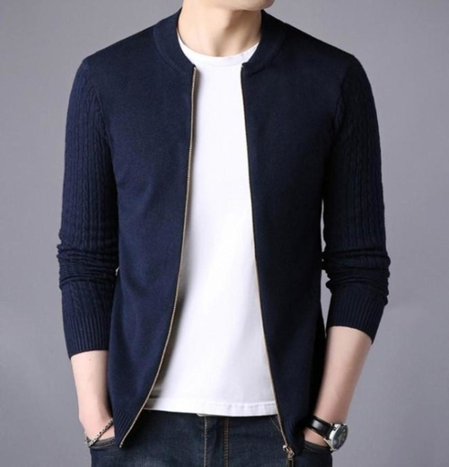 Men's Slim Fit Round Neck Zip Up Cardigan