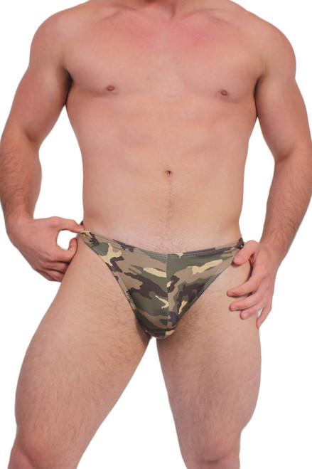 Men's Army Green Summer Thong Camouflage Swimwear
