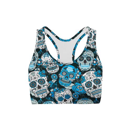 Blue Sugar Skulls Sports Bra
