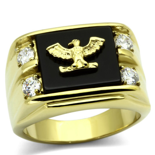 Gold(Ion Plating) Stainless Steel Ring Eagle