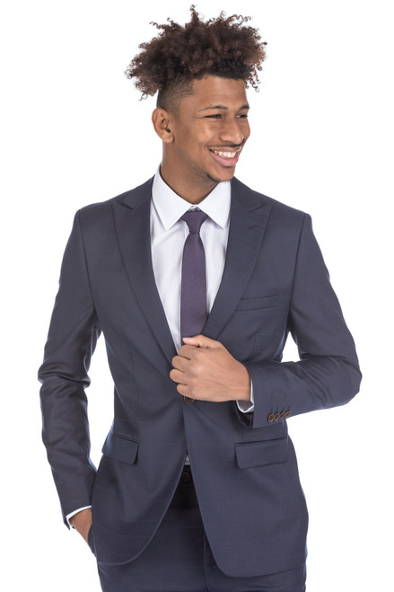 2pc Navy Checkered Men's Slim Fit Suit