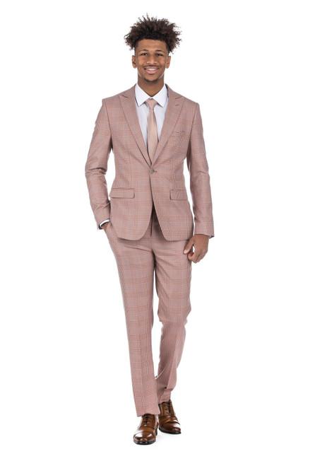2pc Burgundy Checkered Men's Slim Fit Suit