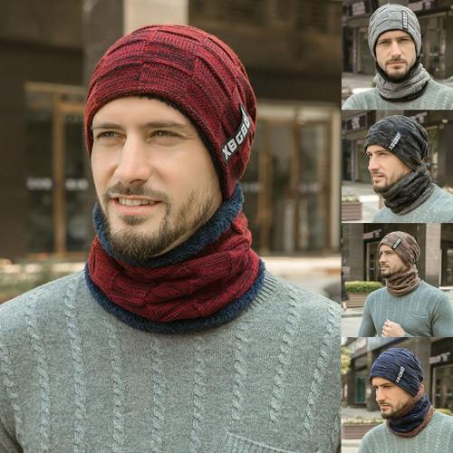 Winter Men's Knitted Hat Headgear Wool Set