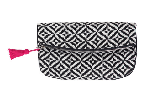 Black Diamond Foldover Clutch 6.5 x10 inch