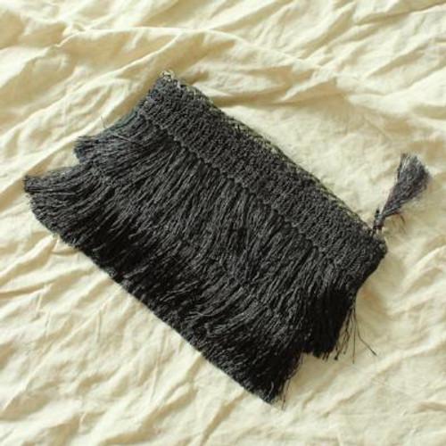 Black Flapper Fringe Straw Clutch