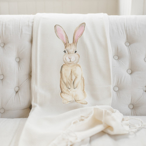 Bunny Watercolor Throw Blanket