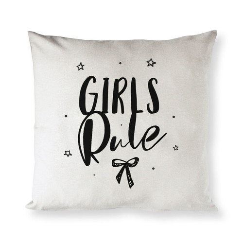 Girls Rule Baby Cotton Canvas Pillow Cover