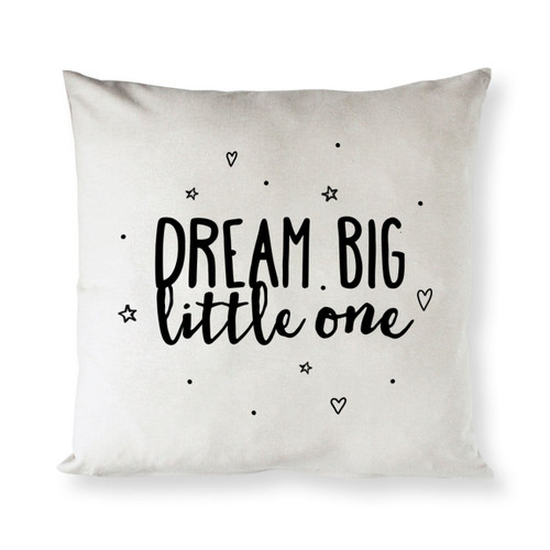 Dream Big Little One Baby Cotton Canvas Pillow Cover