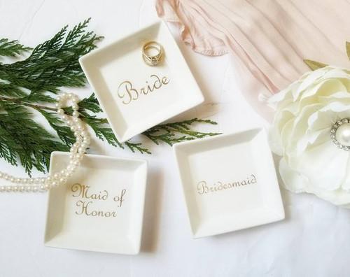 Custom Name Ring Tray in Gold Variety
