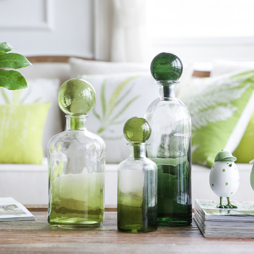 1 Piece Green Bottle Glass Vase Original
