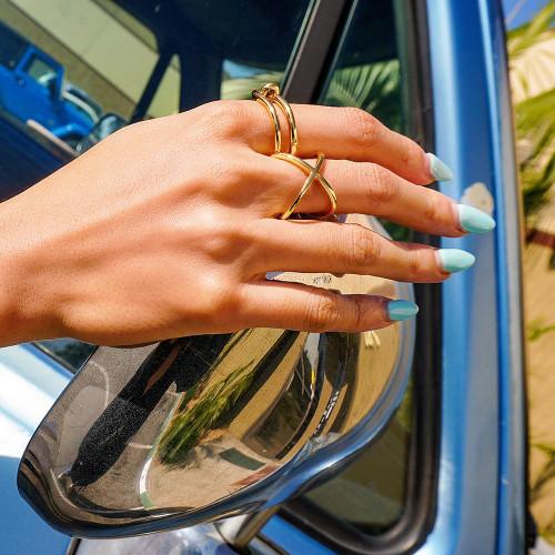 Gold Skinny Crisscross Band Ring