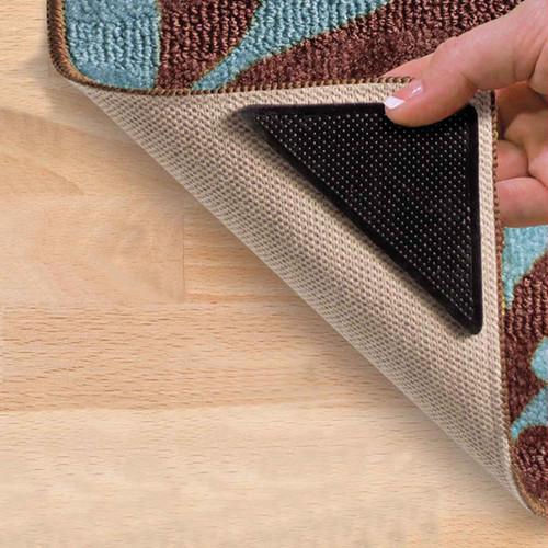 4pc Rug Carpet Mat Grippers Non Slip Pads Anti