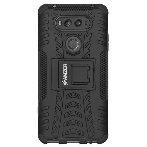 AMZER Hybrid Shockproof Cover Warrior Case for LG V20 - Black/Black