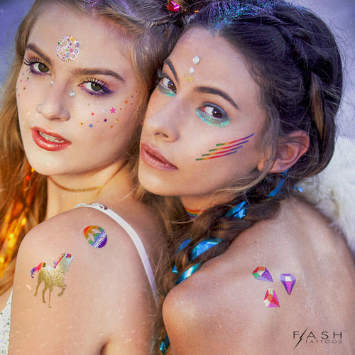 Forever Rainbow Metallic Temporary Flash Tattoos
