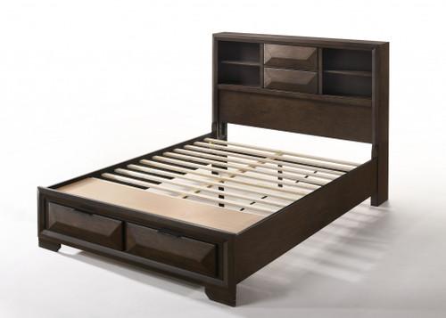 "91"" X 63"" X 53"" Queen Espresso Rubber Wood Storage Bed"