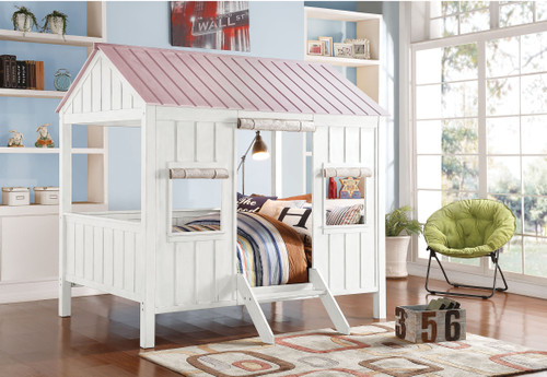"""84"""" X 59"""" X 77"""" White & Pink Cottage Full Bed"""
