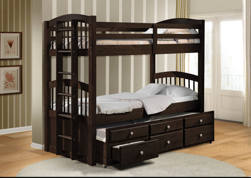 """80"""" X 41"""" X 71"""" Twin Over Twin Espresso Bunk Bed"""