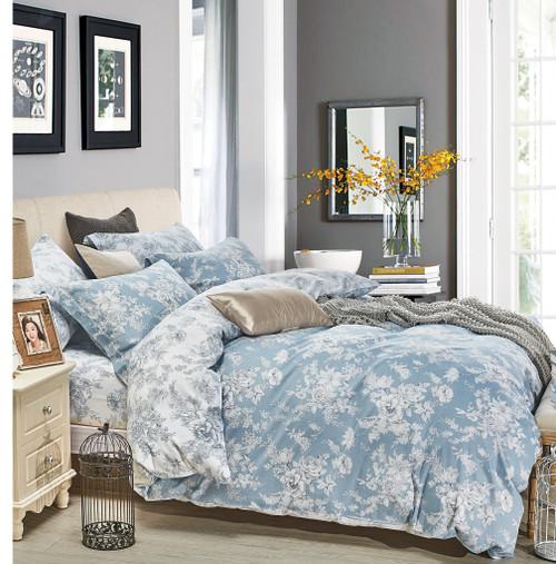 Marianna Blue Floral 100% Cotton Reversible Comforter Set
