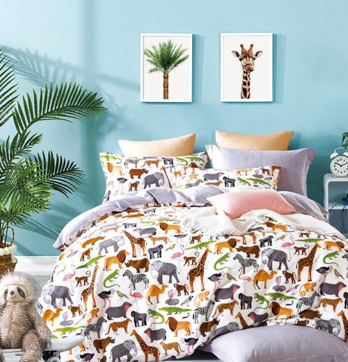 Fun Kids Animal Prints 100% Cotton Reversible Comforter Set