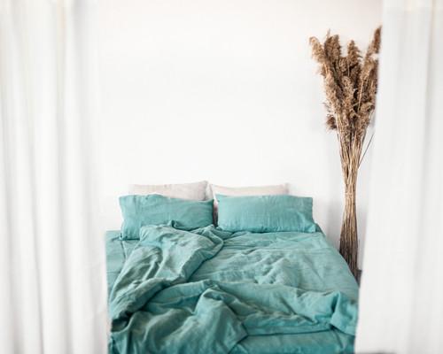 Set of softened Greyish mint linen bedding