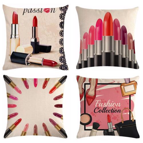 Cosmetic Makeup Lipstick Throw Pillows Off White