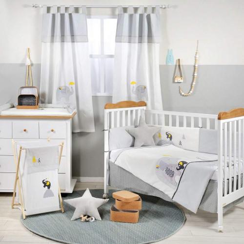 Gray And Yellow Elephant Crib Bedding