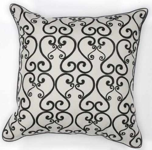 """18"""" x 18"""" Cotton White/Black Pillow"""