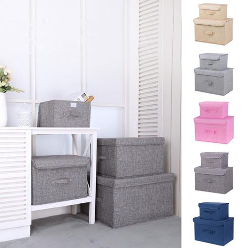 Sale 2pc Foldable Storage Bins Kit Linen Home Wardrobe Clothes