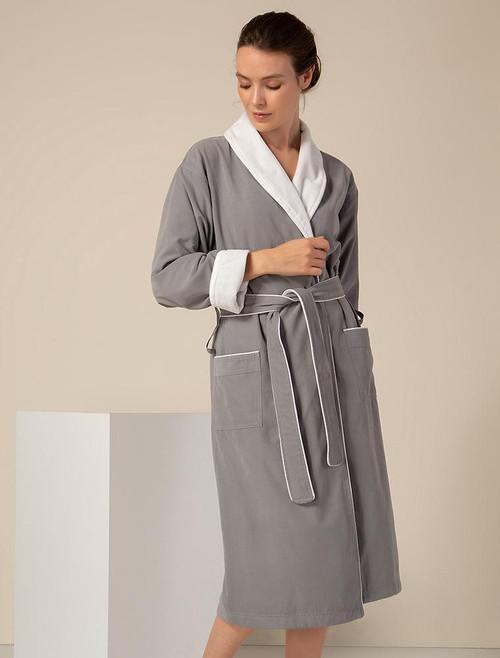 Women's Gray Plush Lined Double Layer Microfiber Robe