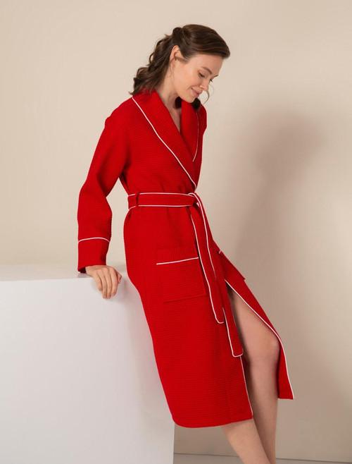Women's Red Luxury Long Waffle Bathrobe