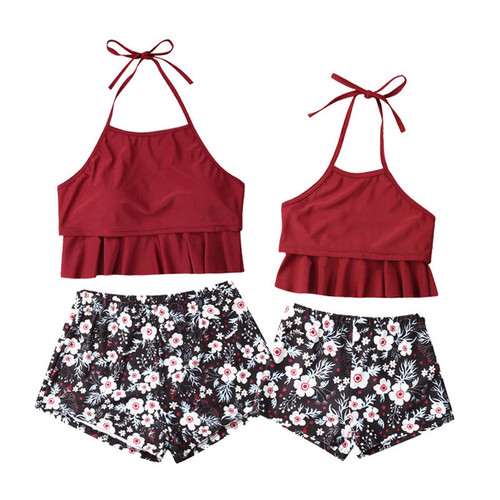 Mommy & Me Family Matching Bikini Mother Daughter Set - Floral