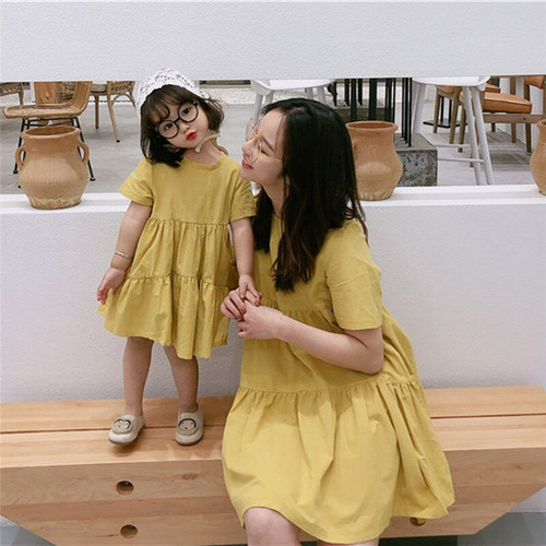 Casual Family Matching Dress for Summer - Yellow