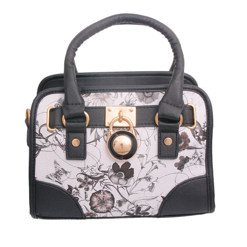 Black & White Leather Floral Handbag Set
