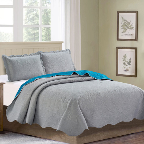 Sherry - 3 Piece - Solid Reversible Quilt Set