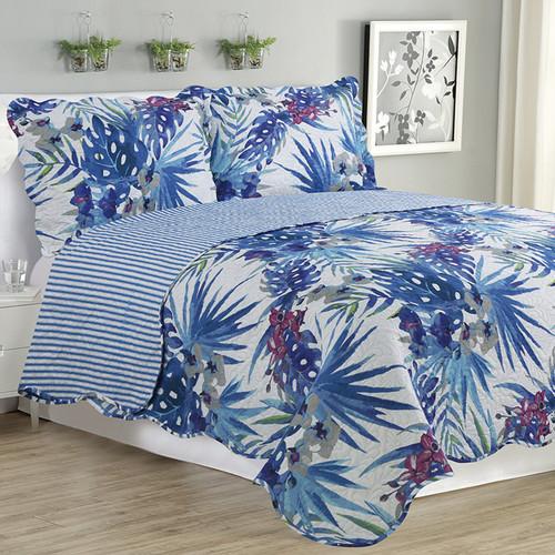 Melissa - 3 Piece Quilt Set - Blue Floral
